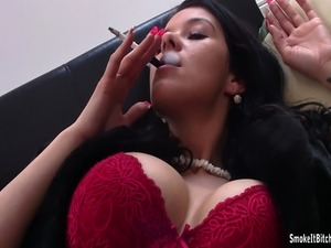 Big tits smoking fetish