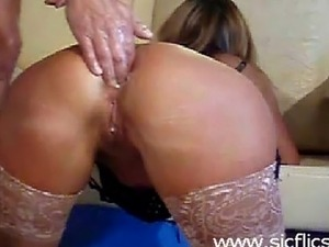 Submissive french housewife brutally double fist fucked in her gaping ruined...