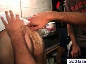 Poor dude gets hairy ass waxed part3