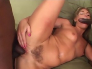Blonde milf with serious bubble butt shares her asshole with 2 black guys.