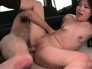 Business girl fucked in a crowded bus