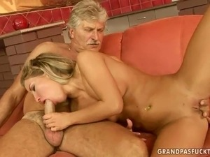 young girl sicks old man video