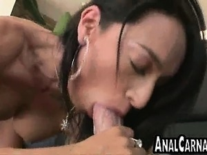 Skinny brunette MILF gives POV blowjob