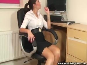 SoloInterviews Hot ass office girl Ava striptease masturbates free