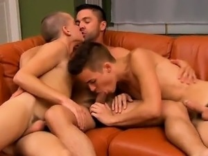 Amazing gay scene Dominic works their eager holes over with