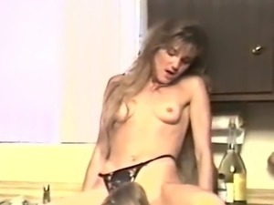 blonde mmf sex in kitchen