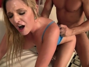 Stacked blonde with a wonderful ass fucks a big dick every way she can