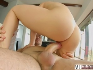 asian blonde threesome anal creampie