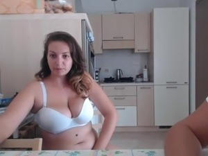 Girl with big tits dancing