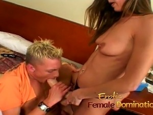 Saucy skinny brunette MILF rams a naughty studs tight ass