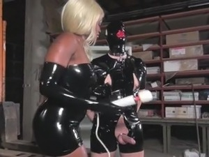 Latex Mistress make slave cum