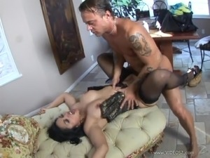 Lingerie-clad Asian chick with a fantastic body enjoying a hardcore anal fuck