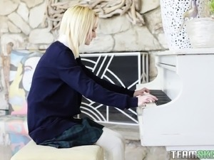 Skinny blonde teen indulges in hot sex action with her piano teacher