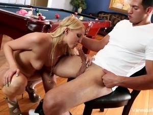 Cutie Vanessa Cage gets bent over the pool table