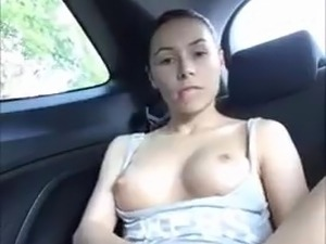 Hot girl driving car