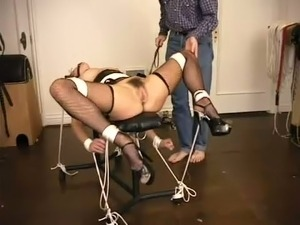 Tightly tied brunette bitch with ball gag had hard sex with her BDSM master
