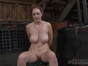 Slave fingering pussy after hard spanks in BDSM porn