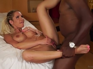 blonde riding black cock