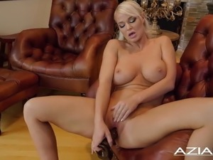 blonde anal dildo on stage